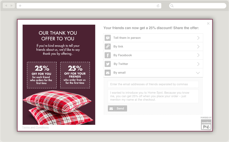 An example of refer a friend powered by Mention Me